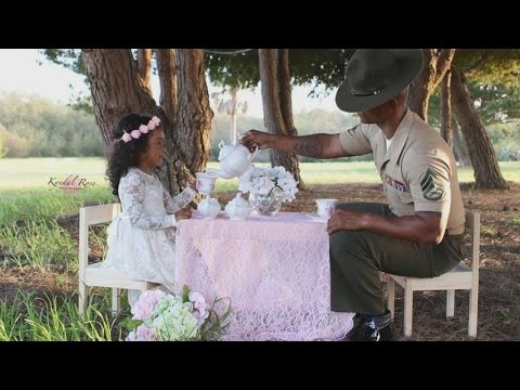 Marine Drill Instructor Dad Enjoys Tea Party With His 4-Year-Old Daughter