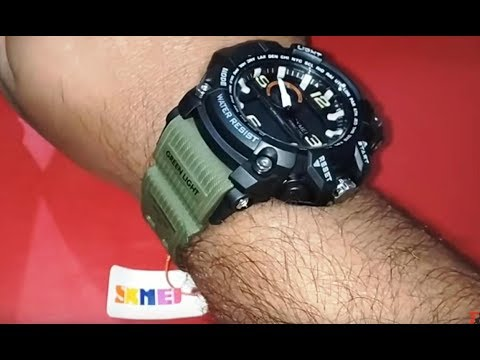 d0c6ea4ceeb74 fake Skmei Analogue-Digital Black Dial Military Green Skm-1283-Green ?? |  Unboxing & Setting