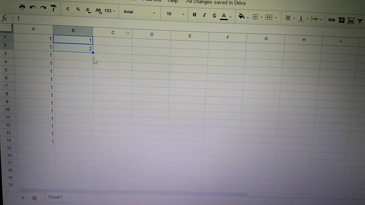 Fill Sequential Number in Google Sheet