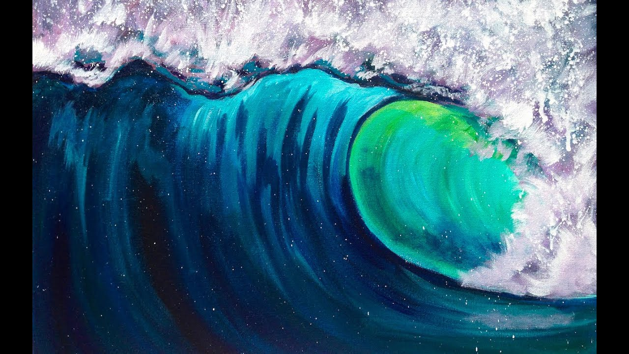 beginner acrylic art lesson how to paint a wave step by step with
