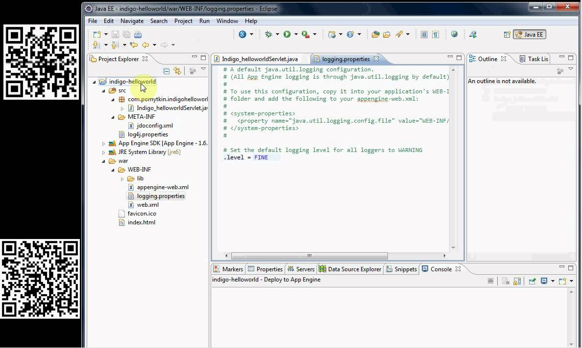 logging : google appengine java tutorial eclipse version 3.7 (indigo