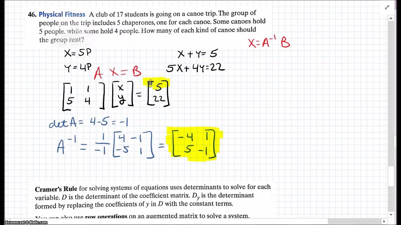 Algebra 2 Chapter 4 Test Review