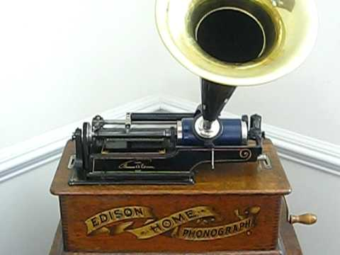 Edison Cylinder Phonograph Playing Listen To The Mocking Bird