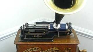 "Edison cylinder phonograph playing ""Listen to the Mocking Bird"""