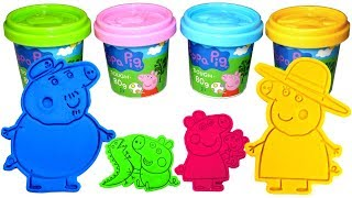 Peppa Pig Play Doh Molds Learn Colors with Peppa George Grandpa Pig and Granny Pig Surprise Toys