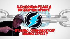 Electroneum update, price, staking, coinmarketcap algorithm?