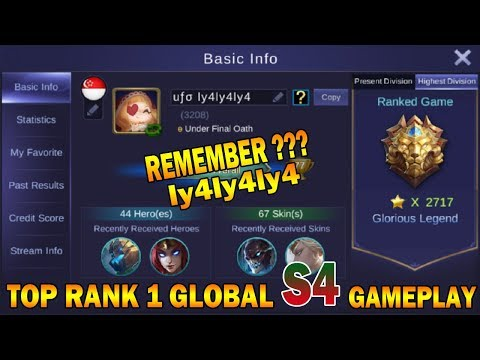 Gameplay TOP RANK 1 GLOBAL Season 4 ufo ly4ly4ly4 | Mobile Legends