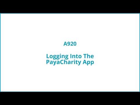 Logging into The PayaCharity App