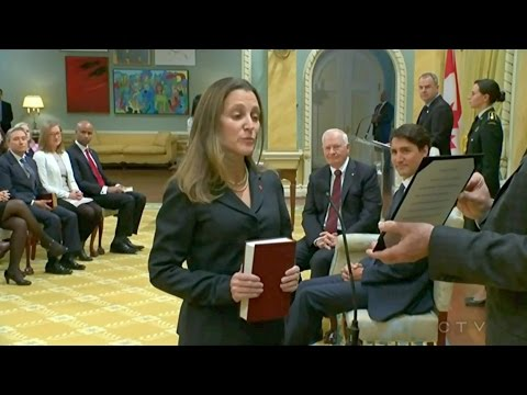 Chrystia Freeland sworn in as Minister of Foreign Affairs, Canada