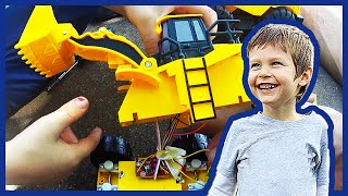Toy Front End Loader and Toy Bulldozer Construction Trucks Get Fixed Up