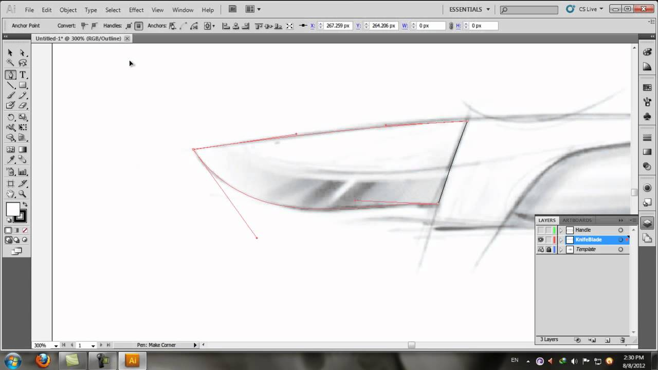 Drawing Lines With Pen Tool Photo : Adobe illustrator simple line drawing using pen tool youtube