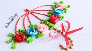 Bordado de guarda-chuva com rosas de fita