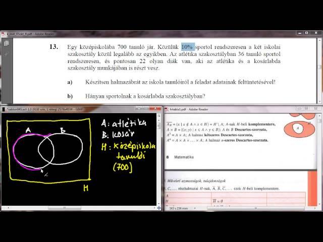 13/a-b Feladat - Halmazábra (Venn-diagram)
