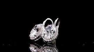 Halo Oval Cut Drop Earrings FD1002