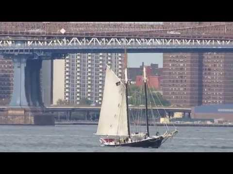 Busy boat and aircraft traffic in the New York Harbor
