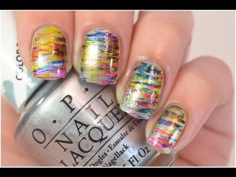 Fan Brush Nail Art Tutorial   OPI Color Paints - YouTube