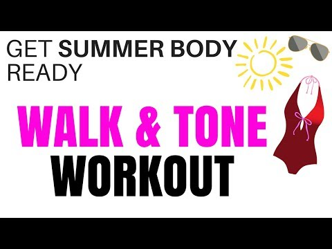 20 MINUTE WALK AT HOME EXERCISE - WITH FULL BODY EXERCISES - TONE UP AND BURN OFF CALORIES AT HOME