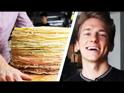 100-Layer Giant Crepe Cake Challenge: Behind Tasty