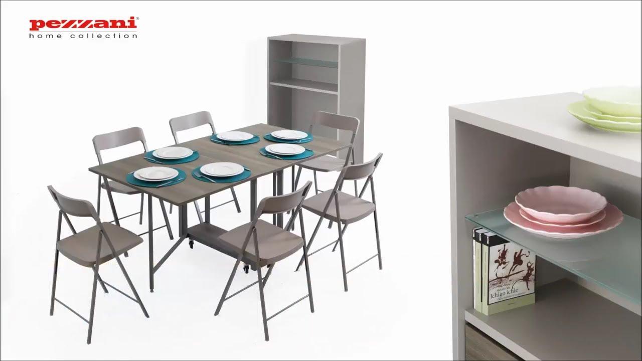 Elegant table rabats sur roulettes avec rangement pour chaises pliantes syra with console for Console pliante pour tablette rabattable