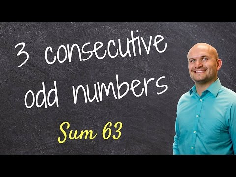 How to find three consecutive odd numbers with a sum of 63 - Math Help - Online Tutor