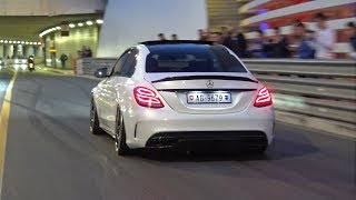 Decatted Mercedes-AMG C63S - LOUD BURNOUTS!
