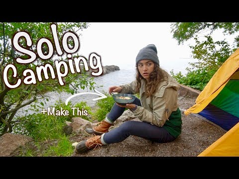 Alone in the Woods -- Solo Camping + Cooking Spicy Soup Over