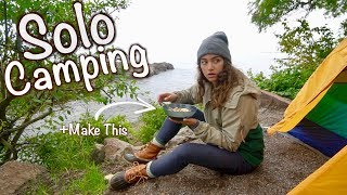 Alone in the Woods -- Solo Camping + Cooking Spicy Soup Over My Camp Stove