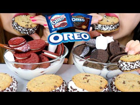 ASMR RED VELVET + DARK CHOCOLATE OREO CEREAL + ICE CREAM COOKIE SANDWICHES 리얼사운드 먹방 | Kim&Liz ASMR