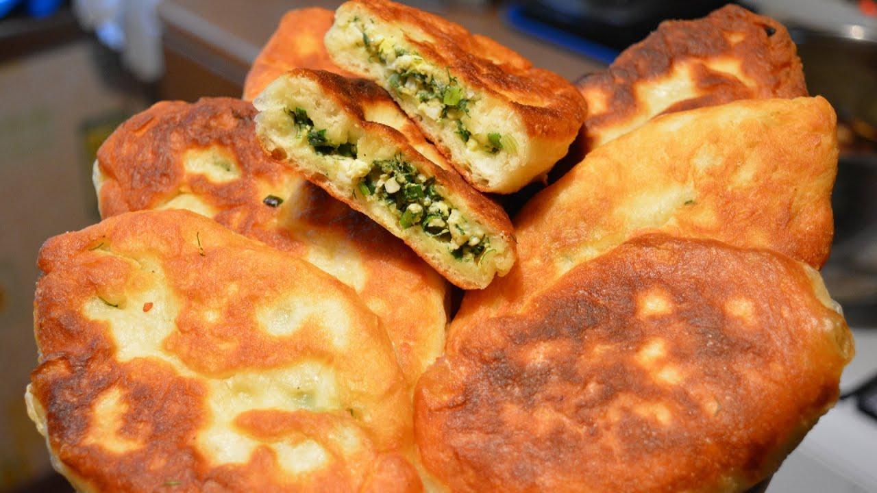 пирожки на кефире с яйцом и зеленым луком жареные на сковороде