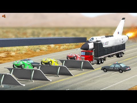 Beamng drive - Speed Breakers with Bouncing Cars crashes