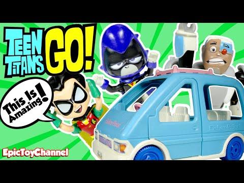 TEEN TITANS GO! Cartoon Network Parody Robin Trades The T-Car for a Mini Van a Funny Video for Kids