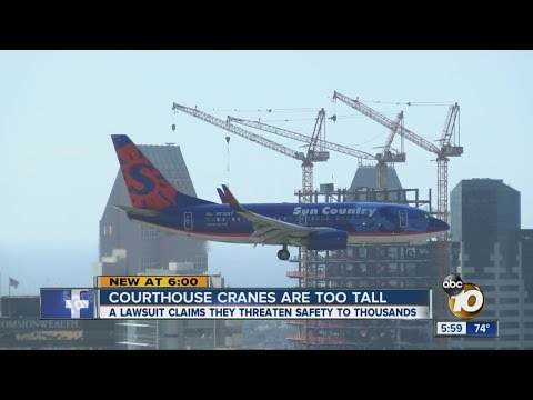 Lawsuit: 3 downtown SD cranes are too tall