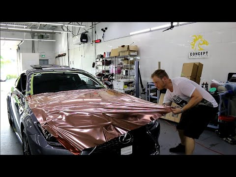 Rose Gold Chrome Vinyl Hood Wrap Lexus RC 300 With Close Up Corners!