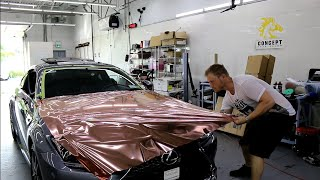 Rose Gold Chrome Vinyl Hood Wrap Lexus Rc 300 With Close Up Corners!