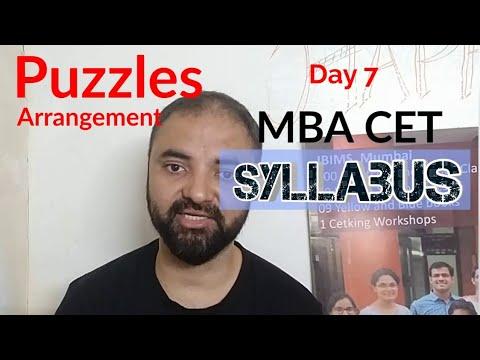 Puzzles Arrangement in CET. 25 questions Syllabus of CET.