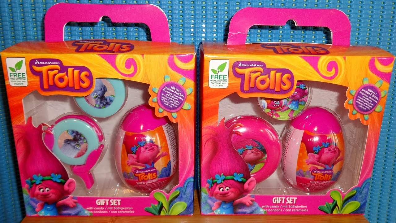 2016 dreamworks trolls movie two gift box surprise eggs toys collection