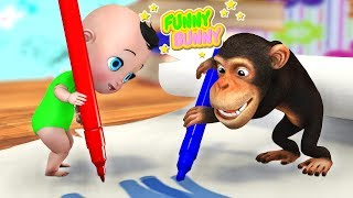 Funny Monkey and Baby draws the starry sky