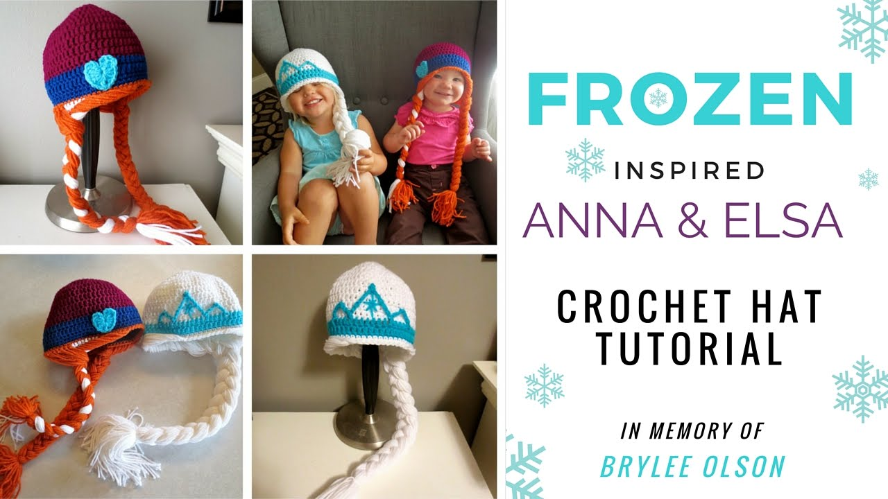 For Brylee Frozen Inspired Anna Elsa Crochet Hat Tutorial Youtube