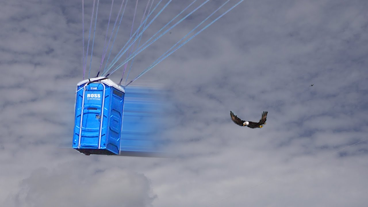 Passing Birds in My Flying Porta Potty