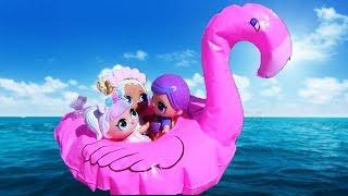 КУКЛЫ ЛОЛ СЮРПРИЗ МУЛЬТИК! ЕДИНОРОЖКУ УНЕСЛО В МОРЕ на фламинго #мультики для детей