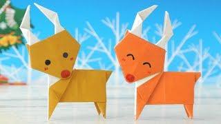 折り紙2枚とのりを使って作る、トナカイさんの作り方です。 そのまま立...
