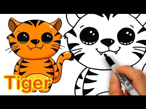 How to draw a cute tiger step by step - photo#28