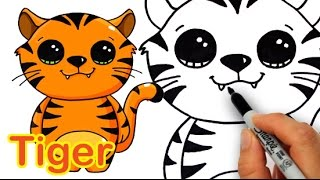 How to Draw a Cute Cartoon Tiger Easy