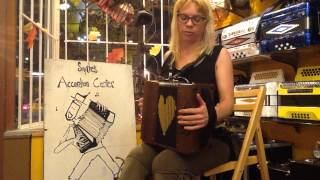 "Renee playing the ""Rebel""system melodeon."
