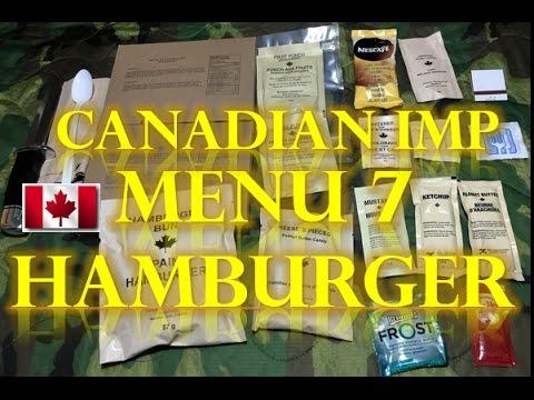 Canadian Ration Individual Meal Pack (IMP) 2013. Hamburger MRE