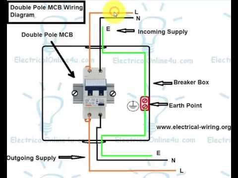 how to wire double pole breaker mcb in english youtube rh youtube com  square d 2 pole gfci breaker wiring diagram