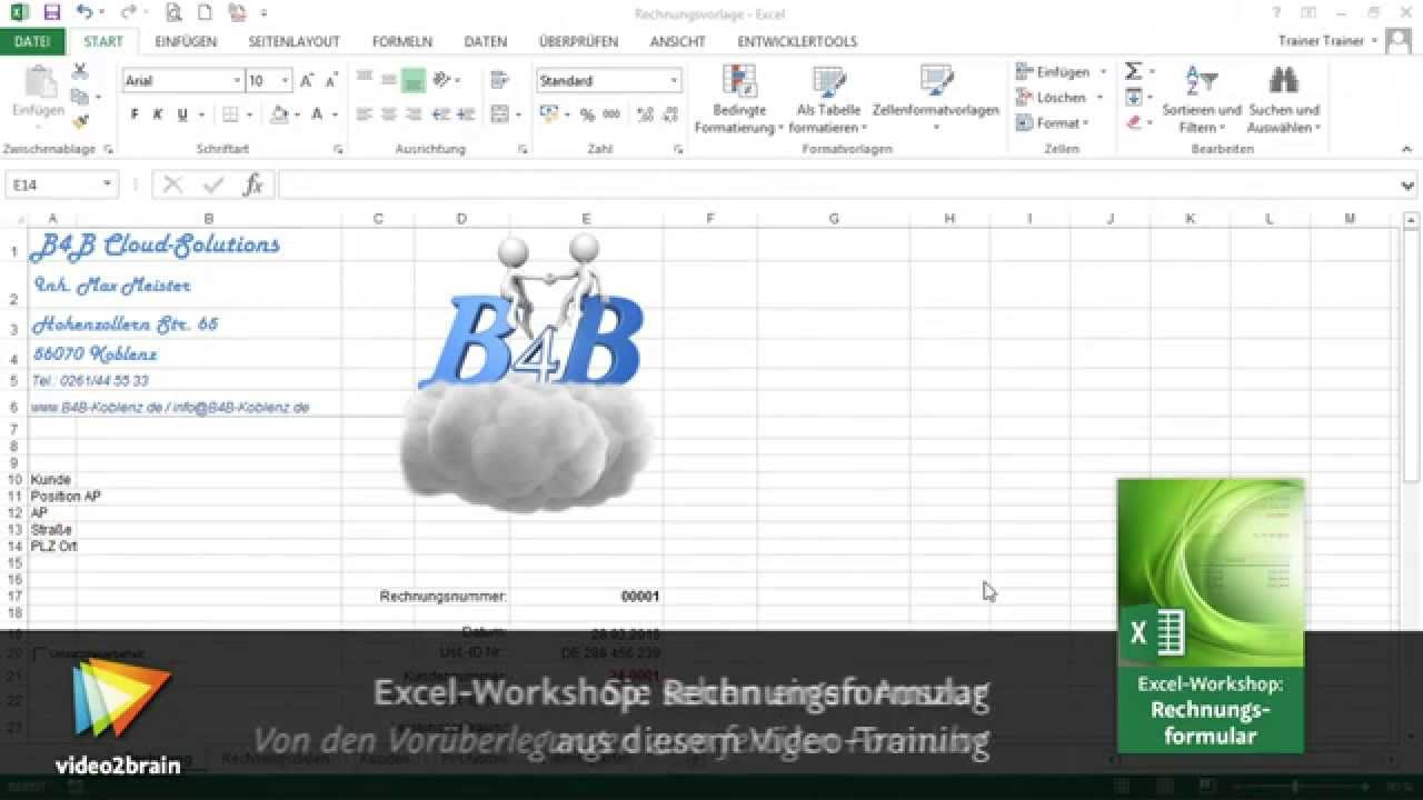 Excel Workshop Rechnungsformular Tutorial Kundendaten Per Index