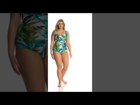 Maxine Plus Size Palm Beach Girl Leg One Piece Swimsuit | SwimOutlet.com