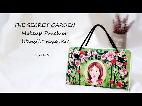 DIY THE SECRET GARDEN Makeup Pouch / Utensil Travel Kit /Pencil case ~Easy  sewing project #HandyMum