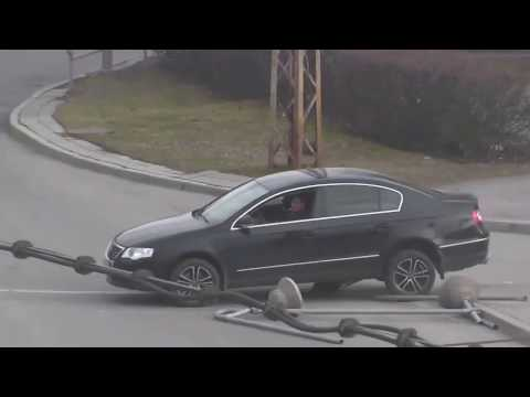 Drunk car driver rams road barrier in Kristiine, Tallinn, Estonia